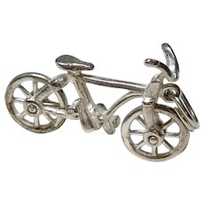Bike / Bicycle Vintage Charm Sterling Silver Three-Dimensional