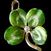 Edwardian Four-Leaf Clover Charm/Pendant Diamond Accent, Shaded Enamel Detail