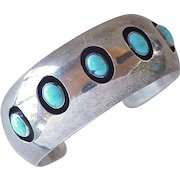 Native American Hand Crafted Cuff Bracelet Sterling Silver & Turquoise