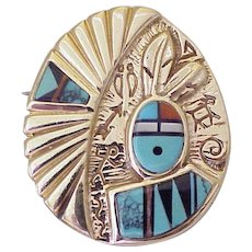 Symbolic Native American Crafted Pendant 14K Gold Colorful Intarsia Inlay Signed