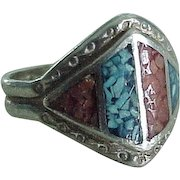 Vintage Southwest Ring Sterling Silver Turquoise & Red Coral Chip