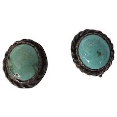 Native American Crafted Screw Back Earrings Sterling Silver Turquoise circa 1960's