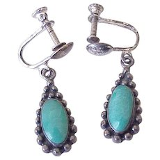 Vintage Native American Screw Back Earrings Sterling Silver & Turquoise