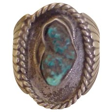 Vintage Native American Crafted Ring Sterling Silver & Turquoise circa 1960's