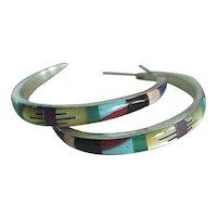 Native American Crafted Hoop Earrings Colorful Intarsia Detail
