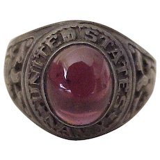 US Navy Vintage Ring Sterling Silver Faux Ruby