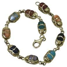 Colorful Gemstone Scarab Beetle Bracelet 18K Gold