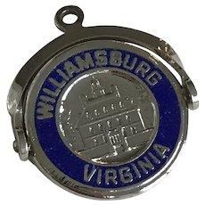 Williamsburg Virginia Vintage Spinning Charm Sterling Silver Colorful Enamel