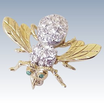 Jeweled Bee Brooch 2.50 ctw Diamond & Emerald 18K Gold Rosenthal Look