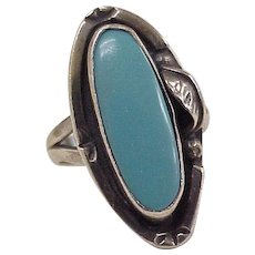 Vintage South-West Ring Sterling Silver Faux Turquoise MEXICO circa 1960's