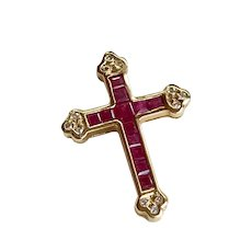 Vintage Jeweled Cross Pendant 14K Gold Ruby and Diamond