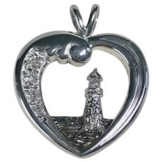 Retired Thomas Kinkade Beacon Of Hope Pendant Sterling Silver Diamond