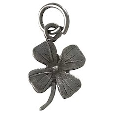 Lucky Four-Leaf Clover Vintage Charm Sterling Silver Three-Dimensional