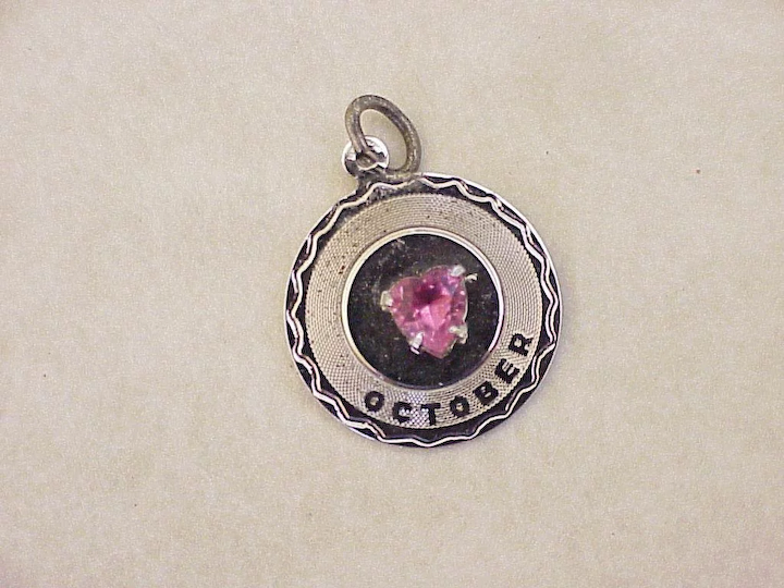 d066722a1 Jeweled Vintage October Birthstone Charm Sterling Silver & Faux Pink  Tourmaline