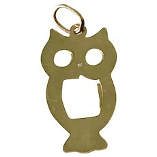 Small OWL Vintage Charm 14K Gold