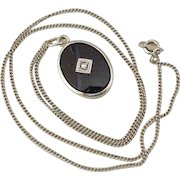 Art Deco Era Pendant / Necklace, Onyx & Diamond 14K White Gold