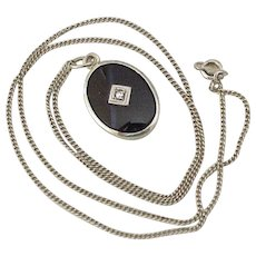 Art Deco Era Pendant / Necklace, Onyx & Diamond 14K White Gold
