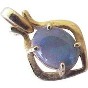 Natural Black Opal Pendant 18K Gold circa 1970's