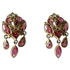 Fun Pink Jeweled Costume Earrings Dangle Clip Back Gold Tone c 1950's