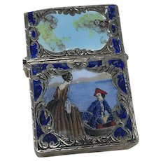 Zippo Lighter Case Italian 800 Silver Enamel, Romantic Painting