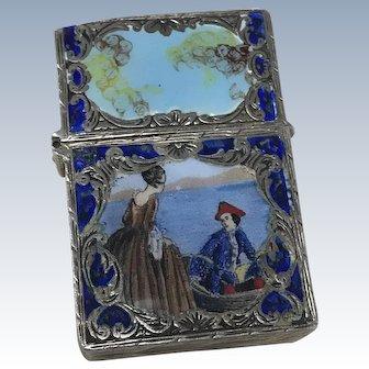 Zippo Lighter Case Italian 800 Silver Enamel, Romantic Painting