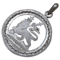 "Sterling Silver Three Dimensional ""The Lion of Judah""  Religious Pendant or Charm"