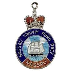 Nassau Trophy Road Race Vintage Charm Sterling Silver Colorful Enamel
