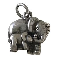 Mother & Baby Elephant Vintage Charm Sterling Silver Three-Dimensional