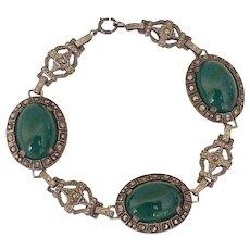 Art Deco Bracelet Sterling Silver Chrysoprase & Marcasite
