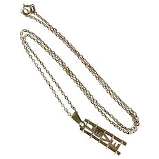 Romantic Love Ladder Pendant Necklace 18K Gold & Emerald