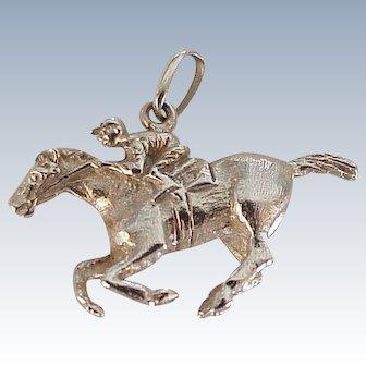 Race Horse & Jockey Vintage Charm Three-Dimensional 14K Gold Circa 1970's