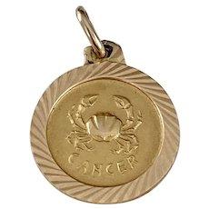 Cancer Vintage Zodiac Charm 18K Gold
