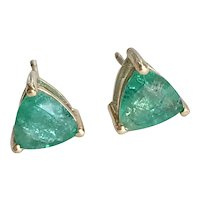 Natural Columbian Emerald Stud Earrings 14K Gold 1.26 ctw Trillion Cut