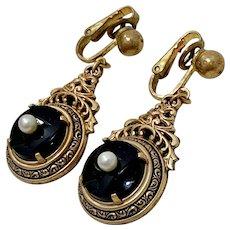 Victorian Revival Dangle Earrings 12K GF Onyx & Cultured Pearl, 1930's