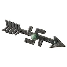 Native American Pin Whirling Log & Arrow, Sterling Silver, Turquoise