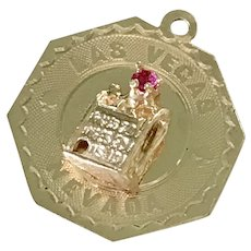 Las Vegas Jeweled Vintage Charm 14K Gold Ruby Accent