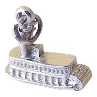 River Cruiser Paddle Boat Charm Three-Dimensional Sterling Silver 1970's