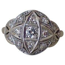 Art Deco Platinum & Diamond Ring, .81 Carat Total Weight VS