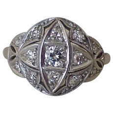 Art Deco Platinum & Diamond Ring, .81 Carat Total Weight VS