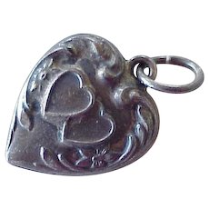 Puffy Heart Vintage Charm Double Hearts & Forget Me Not Sterling Silver 1930-40's