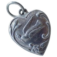 Puffy Heart Vintage Charm Dove & Forget Me Not Sterling Silver 1930-40's