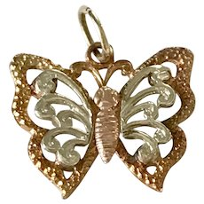 Butterfly Vintage Charm 14K Tri-Color Gold