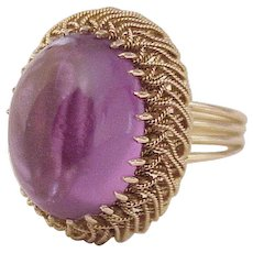 Vintage Gemstone Ring 14K Gold Created Alexandrite 16.5 Carats circa 1960's