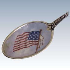 Patriotic Souvenir Spoon Hand Painted Enamel Bowl New Jersey, Gorham
