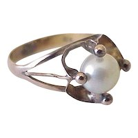 Edwardian Era Ring 18K Gold & Cultured Pearl
