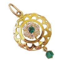 Vintage Victorian Revival Pendant 10K Gold Faux Emerald & Diamond circa 1950's