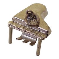 Vintage PIANO Music Charm, Three Dimensional 10K Gold Circa 1950's