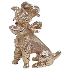 Vintage 14K Solid Gold Charm, Poodle Three Dimensional circa 1950's