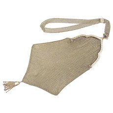 Edwardian Solid 14k Gold Mesh Purse, Sapphire Clasp, Seed Pearl Accent Tassel