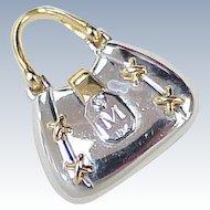 Vintage 18k Gold & Diamond Moving Charm or Pendant ~ Handbag / Purse, Two Tone